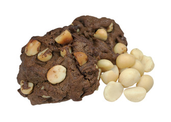 Chocolate cookies with macadamia isolated on white background