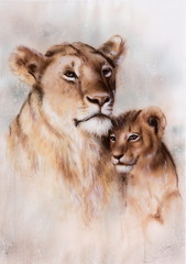airbrush painting of a loving lion mother and her baby cub