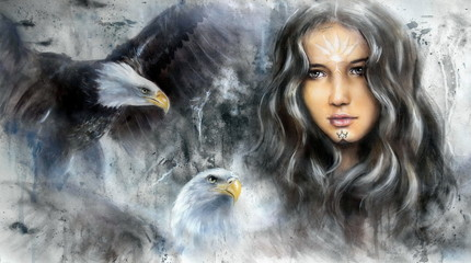 enchanting woman face with two flying eagles