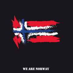 Norway Flag Hand Drawn With Text We Are Norway