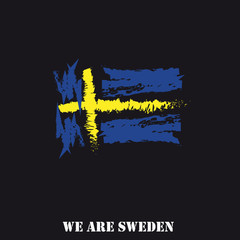 Sweden Flag Hand Drawn With Text We Are Sweden
