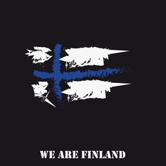 Finland Flag Hand Drawn With Text We Are Finland