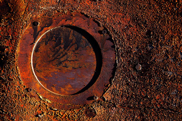 rusty metal with old paint and aged by time