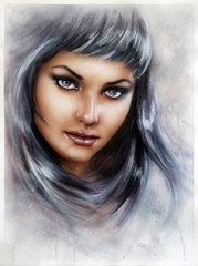 young woman face with long silver hair and a mysterios look