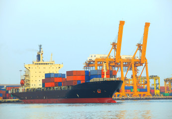 commercial ship and cargo container on port use for import expor