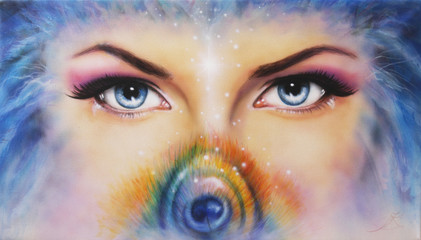 beautiful blue women eyes looking up mysteriously