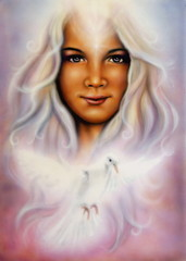 painting of a young girl's angelic face with radiant