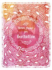 Wedding invitation on watercolor background.