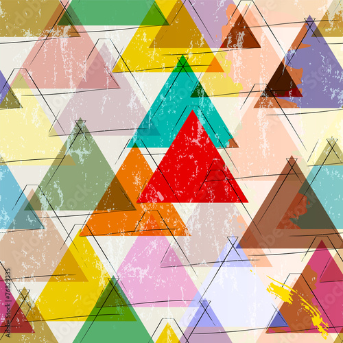 seamless pattern background, with strokes, splashes and triangle © Kirsten Hinte