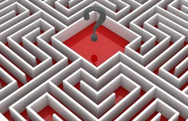 Interrogation mark inside labyrinth