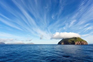 Sailing through Faroe Islands, Atlantic Ocean