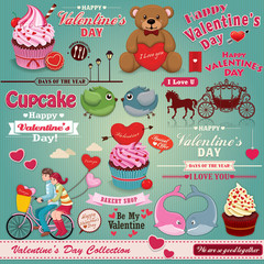 Vintage Valentine design element set