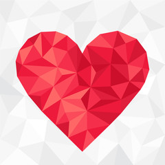 Polygonal red heart. Valentine's Day
