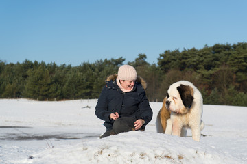 Owner with Saint Bernhard dog