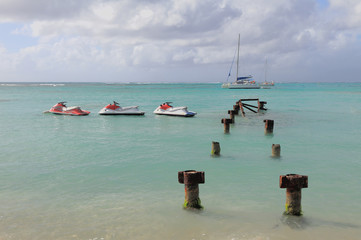 Hydrocycles, destroyed pier. Anse de Sent-An, Guadeloupe