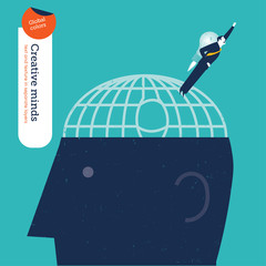 Businessman escaping a brain