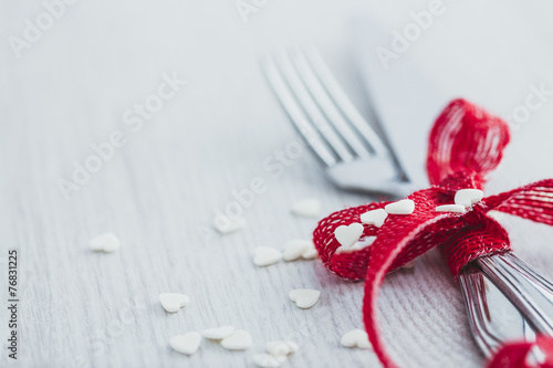 Fork and knife for Valentine's Day - 76831225