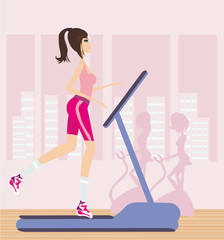 girl runs on a treadmill