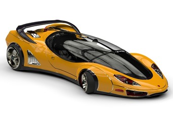 future car yellow side view
