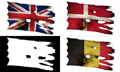 GB, DK, BE, perforated, burned, grunge fluttering flag alpha