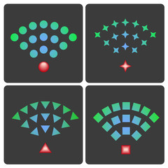 Set of vector wireless and wifi icons