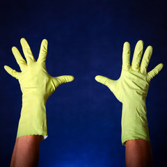 Hands in Rubber Gloves