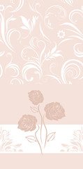 Ornamental pink banner with stylized roses