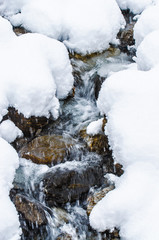 Verschneiter Bergbach
