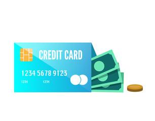 Money enclose with credit card. flat design element. vector