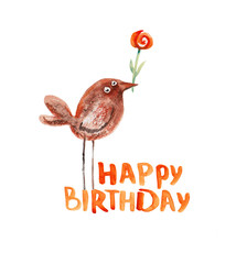 Bird. Birthday greeting. Watercolor