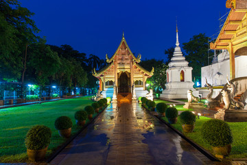 Wat Phra Singh Temple at night, Chiang Mai, Thailand.