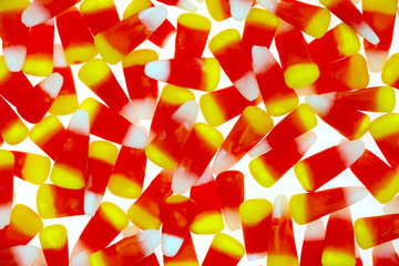 Halloween Candy Corn On A White Background Very Close View