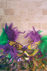 Mardi Gras: Fancy Feather Mask With Tile Background