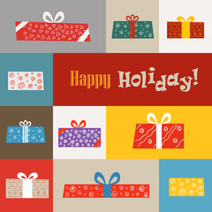 Different gift boxes illustration. Vector greeting card