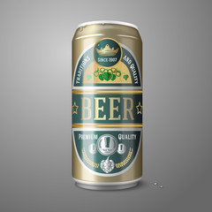 Golden beer can with label, isolated on gray background