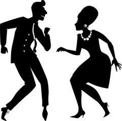 Couple dancing twist silhouette