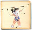 """Matrix"" golfer (woman) - An hand painted illustration."