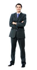 Full body portrait of businessman, on white