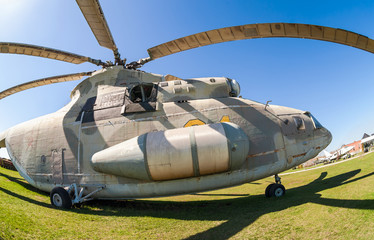 Military helicopter Mi-26 at the exhibition in the technical mu