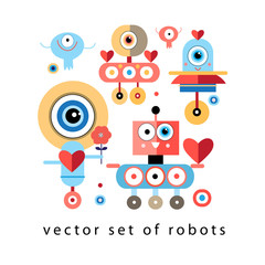set of funny robots lovers
