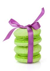 Green macarons with purple ribbon
