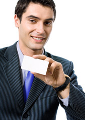 Businessman giving businesscard or bank card