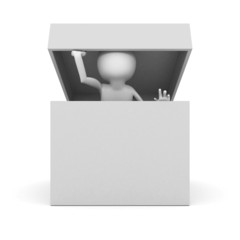 white 3d man watch out of empty opened box container