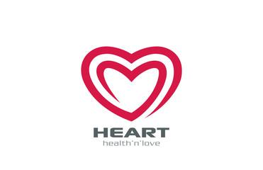 Logo Heart abstract shape vector design. Love Logotype
