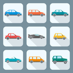 vector colored flat design body types cars classification icons