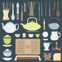 vector solid colors tea ceremony tools and equipment set.