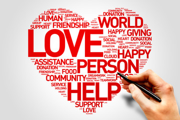 Love, Charity and Productivity Heart word cloud concept