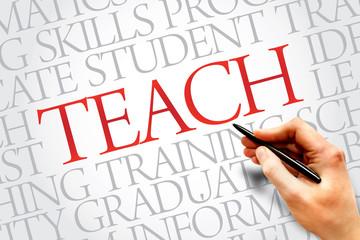 TEACH word cloud, education business concept
