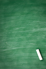 circle of chalk formed on a green chalkboard