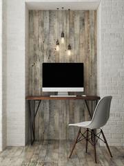 mock up modern office, 3d illustration